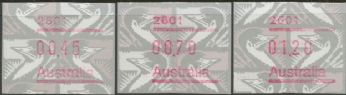 Australian Framas: Emu Button Set 45c, 70c, $1.20: Post Code 2601 Canberra